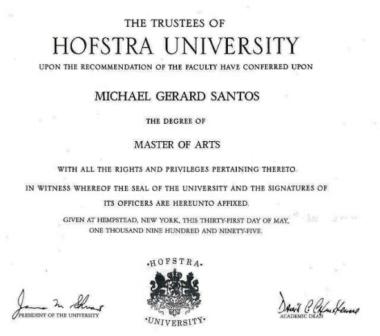 My master of art's degree from Hofstra University