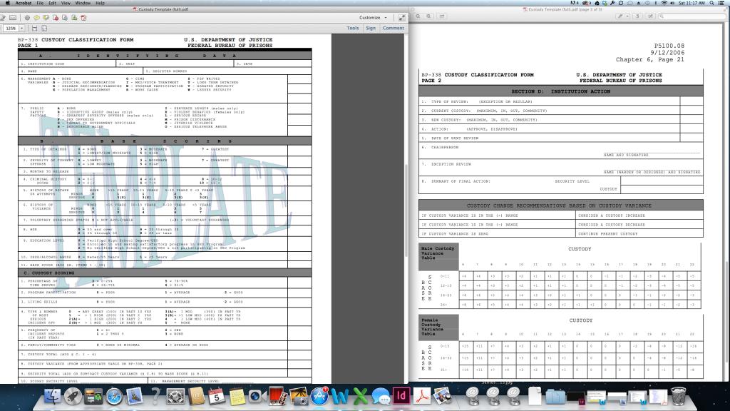 Bureau of Prisons Custody and Classification Form