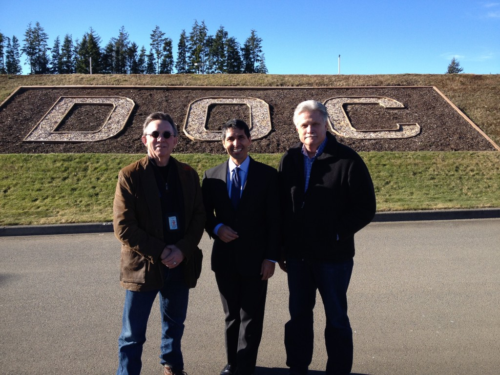 Standing with Lyle Morse and Mike Colwell, Directors of the Washington State Department of Corrections outside of Washington State Prison