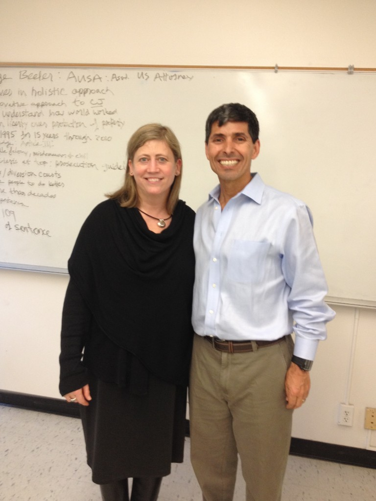 Standing with Judge Laurel Beeler when she visited my class at SFSU